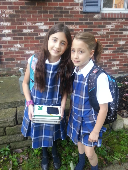 The girls' first day of school, 2014