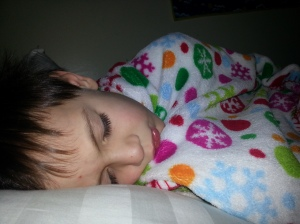 M asleep -- the only time he is quiet.