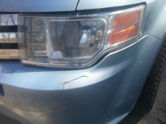 Cracked bumper.