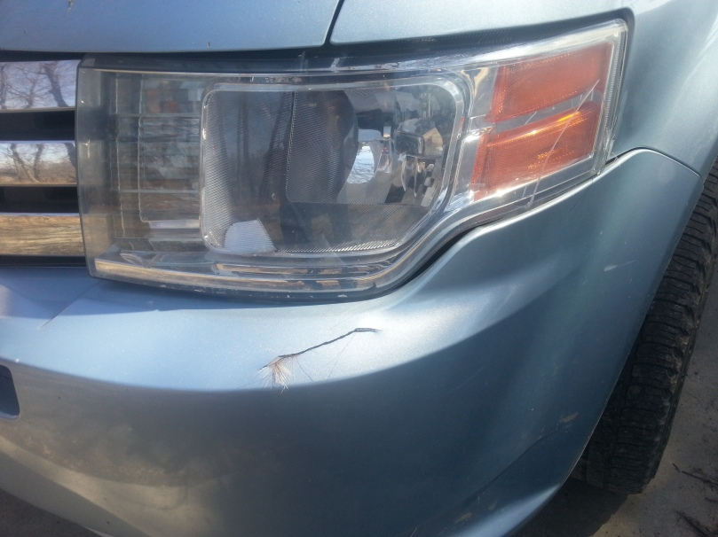 Cracked bumper.