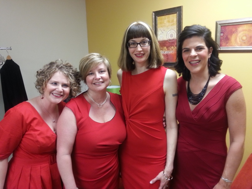 Ladies in Red: Britt, Jen, me (duh), and Tina