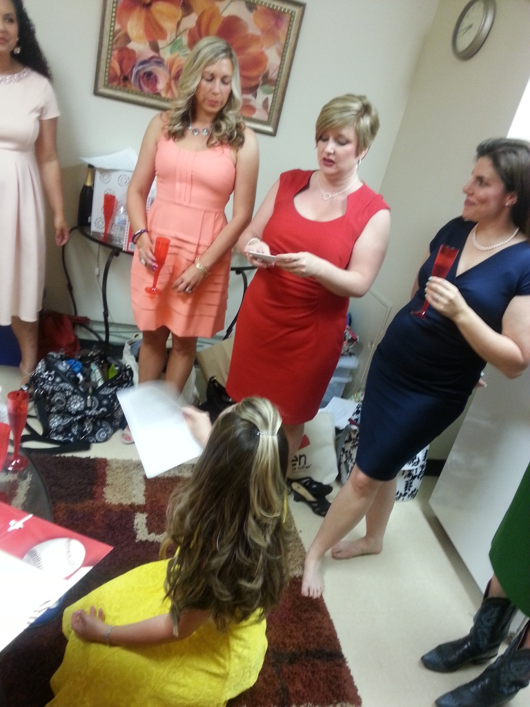 Amanda in peach, Jen in red, Stephanie (on the floor in yellow)... and cast member Ilene.
