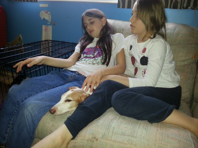 Girls and Oscar dog.