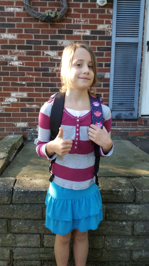 Kate's first day of school, 2015.