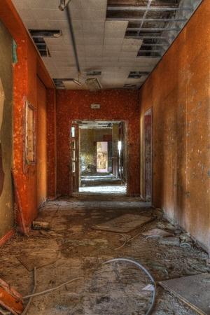 Trashed hallway.
