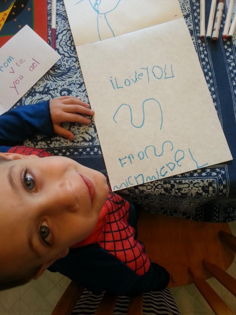 M writing words!